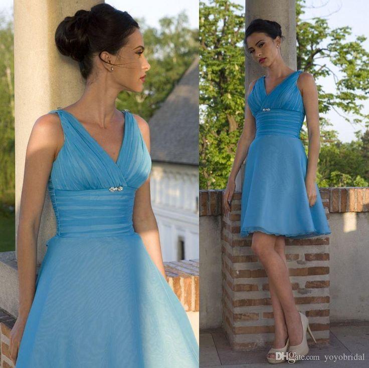 2015 New Spring Designer V Neck Bridesmaid Dresses Blue Crystal Cheap Organza Knee Length Evening Prom Party Dress Gown 2015 For Wedding Bridesmaid Dresses Sale Bridesmaid Maxi Dresses From Yoyobridal, $80.15| Dhgate.Com