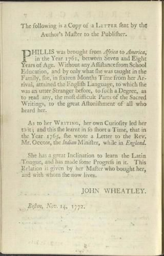 an analysis of wheatleys poem about leaving new england To the university of cambridge in new-england is a famous poem by phillis wheatley while an intrinsic ardor prompts to write,the muses promise to assist my pen'twas not long since i left my native shorethe land of errors.