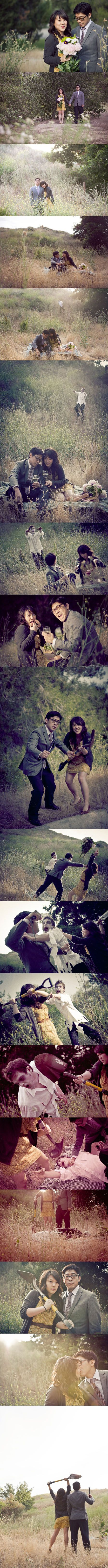 The funniest Engagement photo shoot ever!  FUN!: Zombies Apocalyp, Engagement Pictures, Idea, Zombies Wedding, Engagement Photos Shoots, Engagement Pics, Wedding Photos, Engagement Shoots, Wedding Pictures