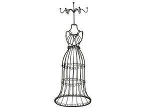 Stojan na šperky drátěná panna 36 cm - tmavá