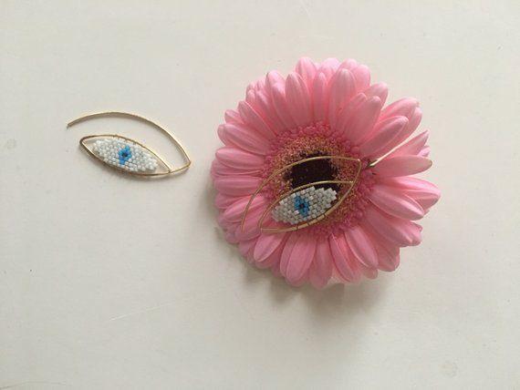 Boucles d'oreilles fait main oeil tissage miyuki or fin 24k argenté 925 blanc bleu, boucles d'oreilles pendantes