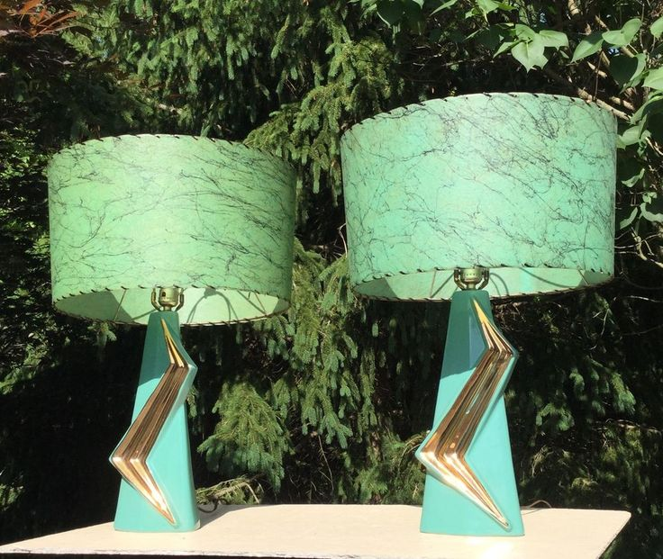 "FABULOUS pr MID CENTURY MoDERN ATOMIC SCULPTURAL ""Z"" CERAMIC TABLE LAMPS w SHADE #Unknown"