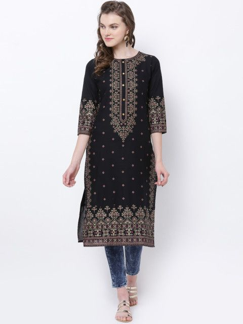 21870417a6e Buy Vishudh Women Black   Gold Toned Printed Straight Kurta - Kurtas for  Women 2110558