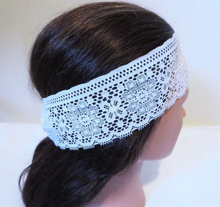 White Lace Headband, Stretchy Hairband, Lace Hair wrap, Lace Turban, Gift for Women, Gift for Teen, Teen Accessory by TiStephani on Etsy