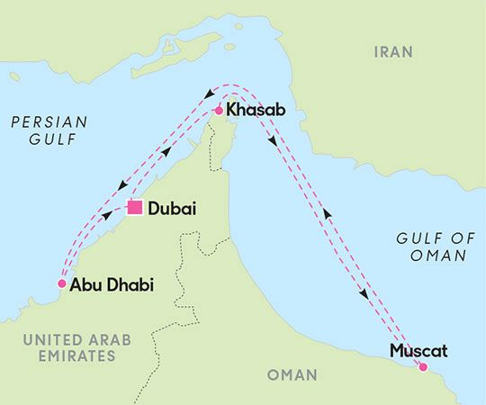 Reitti: Risteily Dubaista 7 yötä, Vision of the Seas - (Downtown Dubai, Khasab, Muscat, Muscat, Abu Dhabi  Downtown Dubai) | Tjäreborg & Royal Caribbean International