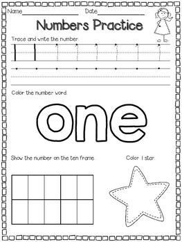 Number Practice Pages for 1-10