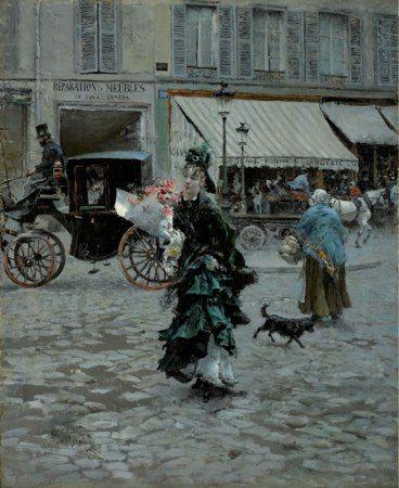 ジョヴァンニ・ボルディーニ  道を渡る 1873-1875