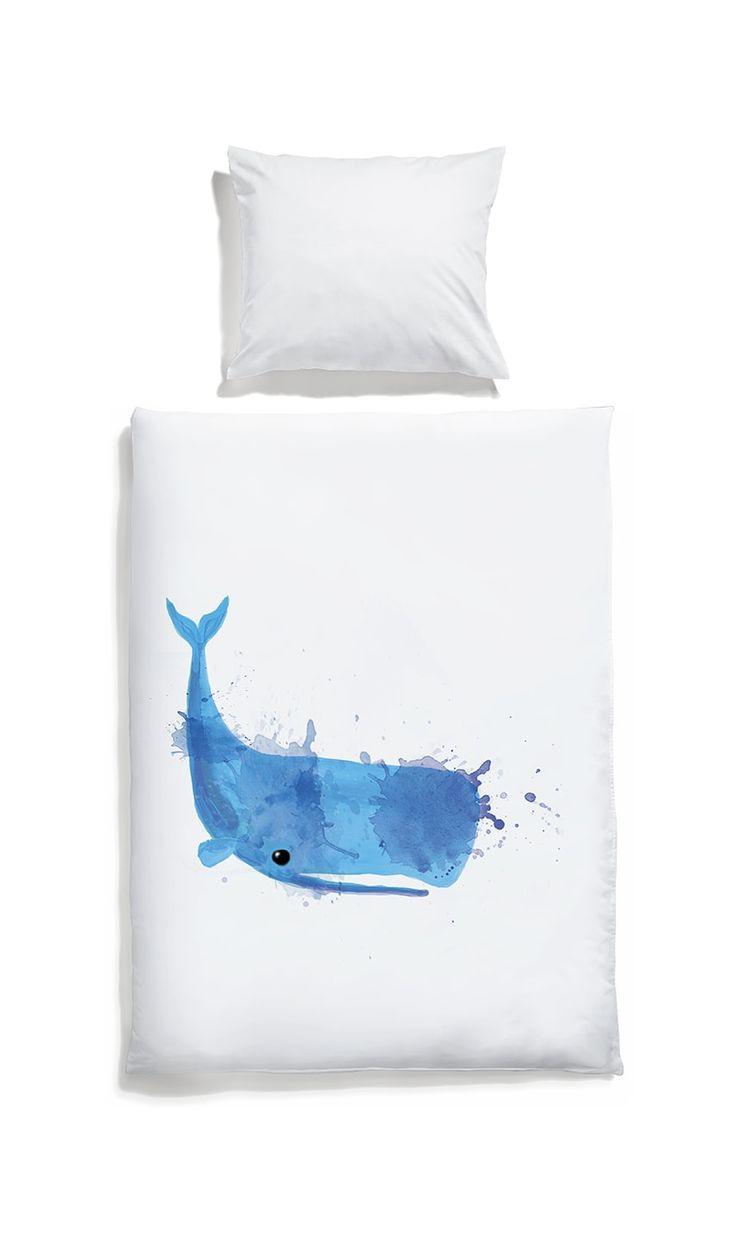 White pocket kids bedding #whale #white #bedlinen #watercolor