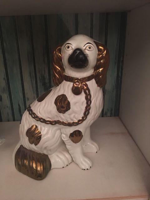 Antique Copper Luster Staffordshire Dog Figurine King Charles Spaniel | eBay