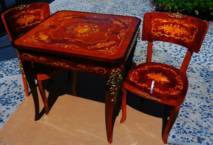 Beautiful Vintage Italian Inlaid Multi Game Table With Two Chairs, Ornate    eBay