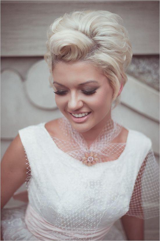 short vintage wedding hair style.