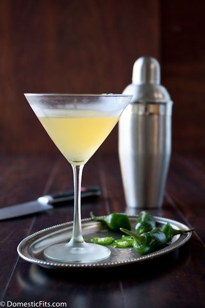 Jalapeno Peach Martini  2oz good quality vodka (I used Tito's Homemade Vodka) ½ oz Dry Vermouth 2oz Peach Nectar 6 Thin slices Fresh Jalapeno  Fill a cocktail shaker with ice. Add all ingredients, shake gently for about 10 seconds. Pour through the strainer into a chilled martini glass. http://www.crownwineandspirits.com/titos-handmade-vodka-750ml/