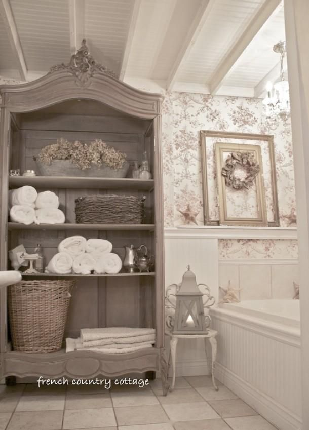 Landelijk wonen badkamers pinterest french country for French shabby chic bathroom ideas