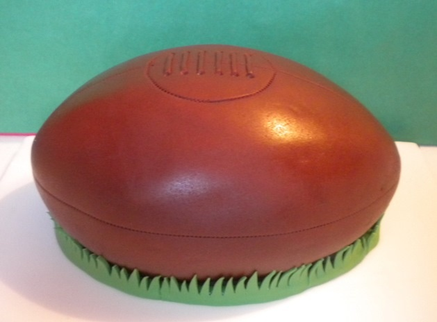 Old-fashioned rugby ball cake