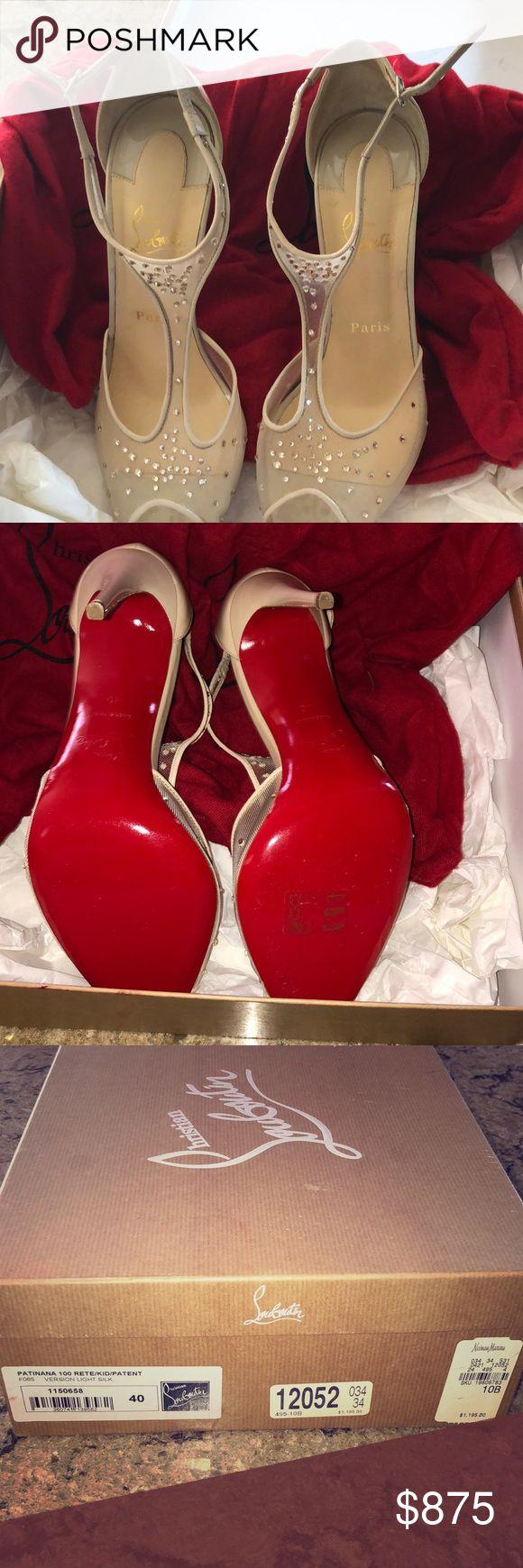 Patiana 100 leichte Seide Christian Louboutin Schuhe Nude mit Kristallen. Zweimal warnen …