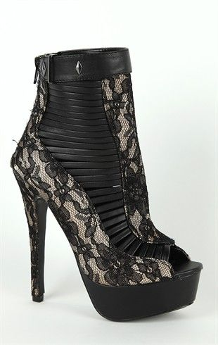Deb Shops Platform Peep Toe #Lace #Booties with Side Slits $45.90