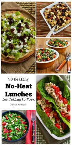 90 Healthy No-Heat Lunches for Taking to Work (Many are Low-Carb and Gluten-Free) found on KalynsKitchen.com.