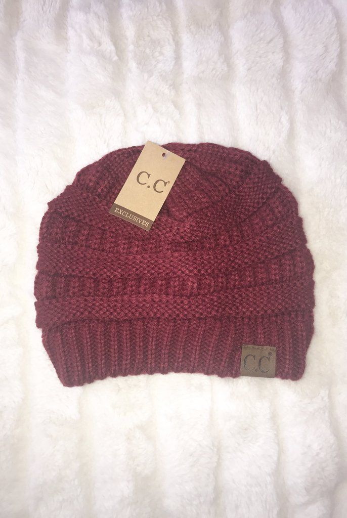 d9356baf894fd5 C.C. Beanie (Burgundy) | Taily Rose Boutique | Knitted hats, Beanie, Knit  beanie