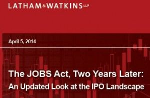 US IPOs are using JOBS Act benefits according to a Latham & Watkins study.
