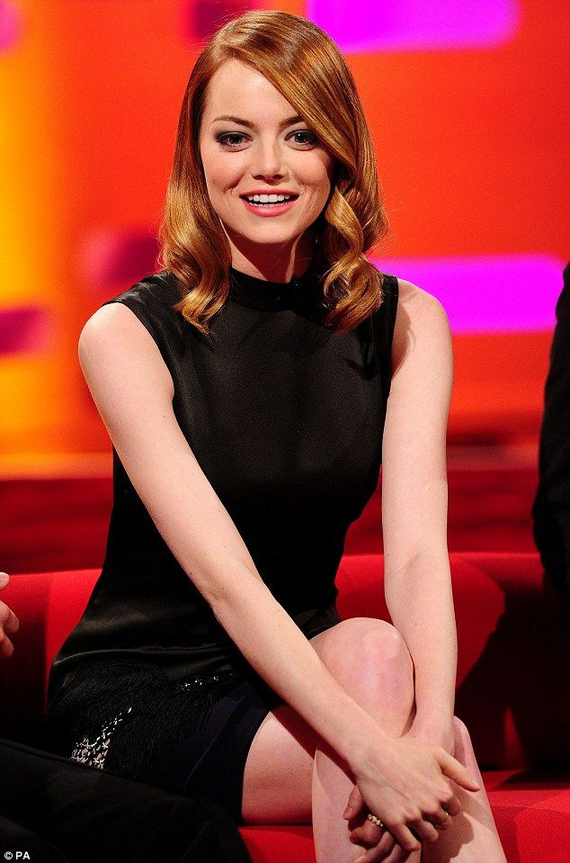 Sitting pretty: Emma looked stylish in black for an interview on The Graham Norton Show, to be broadcast on Friday night