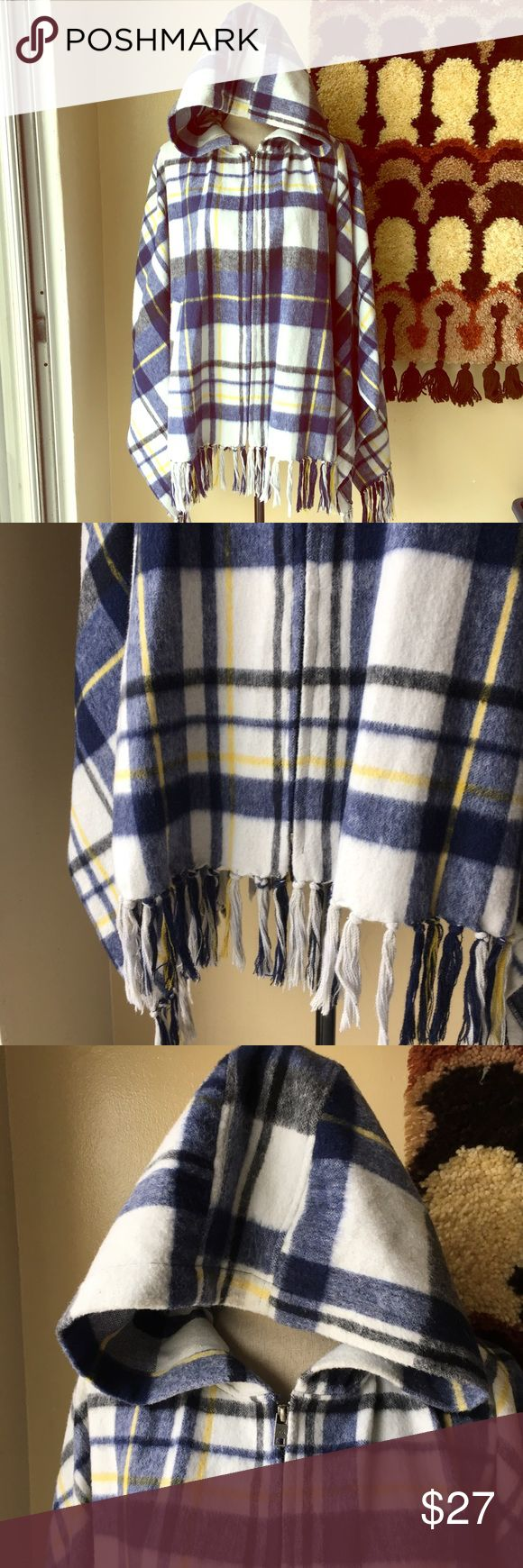 Quicksilver new women's wool poncho zipper blue Quicksilver wool poly poncho. Blue white yellow plaid. Wore this once. One size. With pockets!!! Oversized hood. Super soft. Really rad piece. Fringe at bottom. Zippers up length of front. #poncho #plaid #quicksilver #hoodie #oversized quicksilver Jackets & Coats Capes