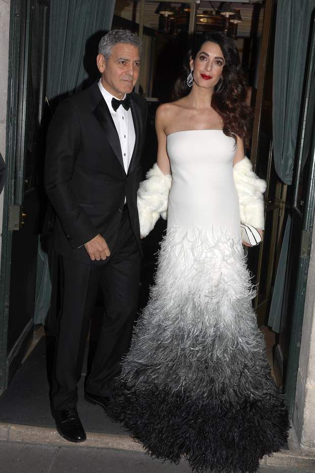 Amal et George Clooney à la cérémonie des César 2017PARIS,FRANCE THE 24TH OF FEBRUARY 2017 George Clooney and wife Amal coming out from their hotel on way going to the french Cesars ceremony PHOTOS:ABACAPRESS.COM | 583673_003