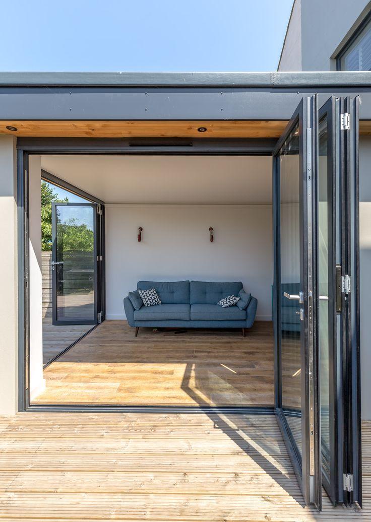 Modern bi fold doors grey aluminium profile level - Exterior door threshold extension ...