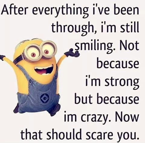 Minion crazy, smiling. See my Despicable Me Minions pins https://www.pinterest.com/search/my_pins/?q=minions