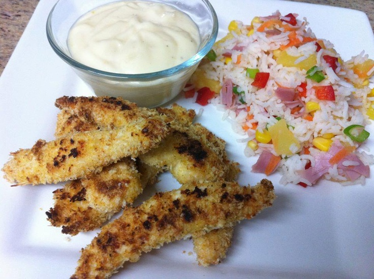 Crispy Chicken Fingers with Honey Mustard Dipping Sauce & Hawaiian Fried Rice!  Get the instructions here: http://www.facebook.com/photo.php?fbid=308254829249421=a.140579589350280.35621.118018038273102=3