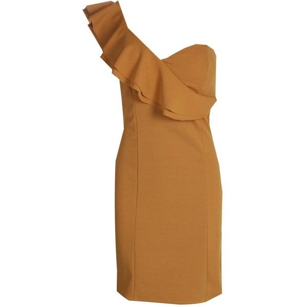 Dyana Ruffle One Shoulder Bodycon Dress ($2.48) ❤ liked on Polyvore featuring dresses, body conscious dress, one sleeve cocktail dress, one shoulder cocktail dress, brown cocktail dress and one sleeve bodycon dress