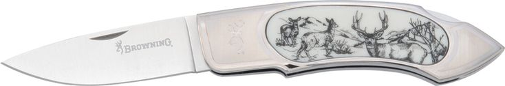 Browning Scrimshaw Mule Deer Lockback knives BR541 - $50.76 #Knives #Browning