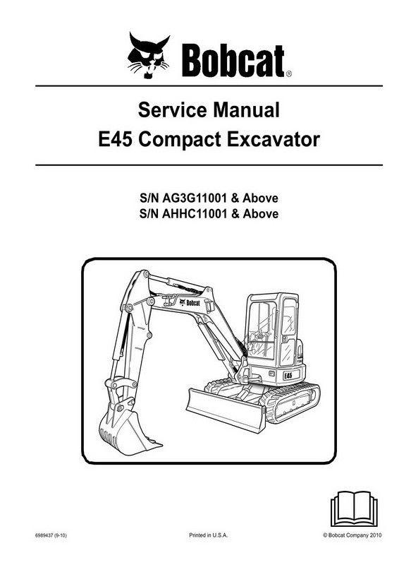 Bobcat E45 Compact Excavator Service Manual 6989437 9 10