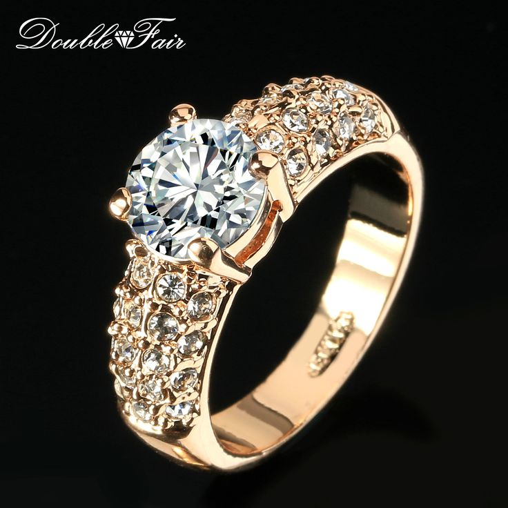 Women Colorful Copper Crystal Rhinestone Ring Gold Plated Diamond Ring Gift GPQaFW