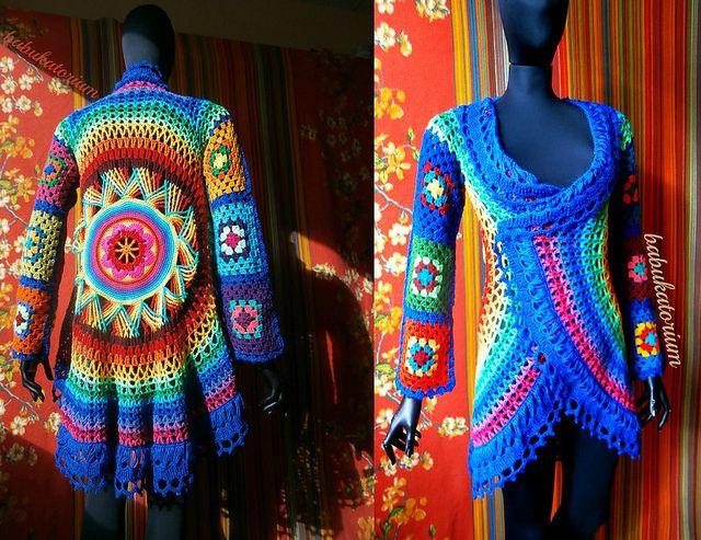 Crochet Coat - Aztec Sun Mandala And Granny Squares