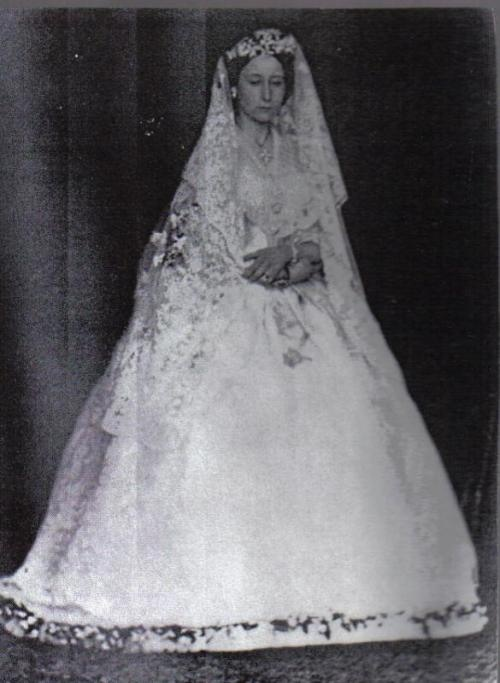 Princess Alice (Queen Victoria's daughter) on her wedding day in July 1862.  Her father, Prince Albert , had died less than a year ago.  The veil is the one her daughter , Alexandra, wore on her wedding day to Tsar Nicholas II. Just before Princess Alice's wedding she wore mourning black and right after the wedding she put back on the mourning black.  Queen Victoria and some of Princess Alice's siblings cried during her wedding. Alice carried haemophilia into the Hessian family and her…