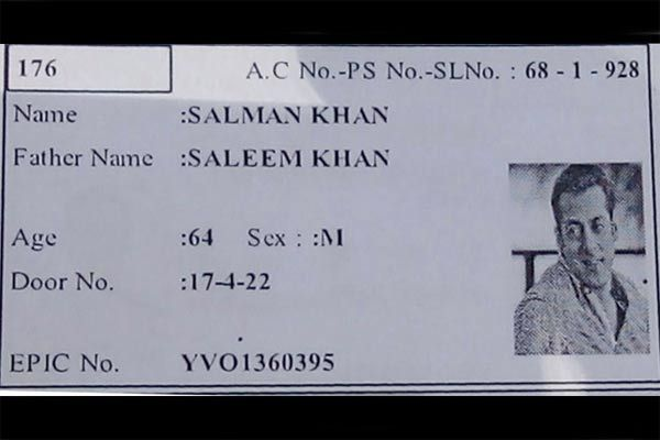Voter ID Mistaken As Salman Khan