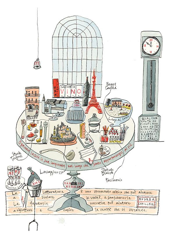 Julia Binfield was commissioned by a group of colleagues to map the life of Marco, featuring favorite places, foods and objects, in honor of his retirement last year.