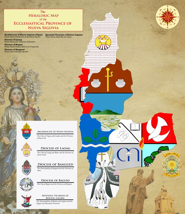 THE HERALDRIC MAP OF THE ECCLESIASTICAL PROVINCE OF NUEVA SEGOVIA [Composed of the Archdiocese of Nueva Segovia (Ilocos Sur), the Dioceses of Laoag (Ilocos Norte), Bangued (Abra) and Baguio (Benguet) and the Apostolic Vicariate of Bontoc-Lagawe (Ifugao and Mountain Provinces) Designed by: Kendrick Ivan B. Panganiban Copyright: DOMVS AVREA 2016