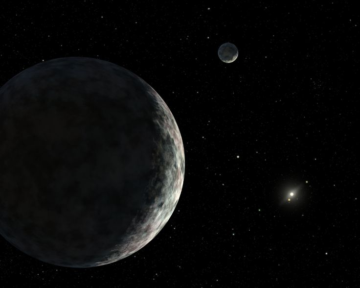 An artist's concept of the dwarf planet Eris and its moon Dysnomia. The sun is the small star in the distance.