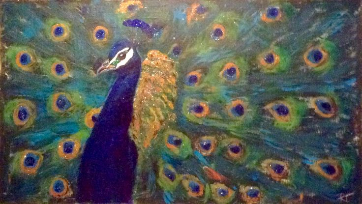 Peacock - iridescent, birds, teal, royal blue, gold, copper - acrylic on canvas