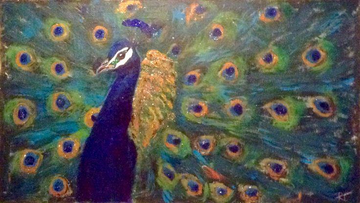Peacock - iridescent, birds, teal, royal blue, gold, copper - acrylic on canvas