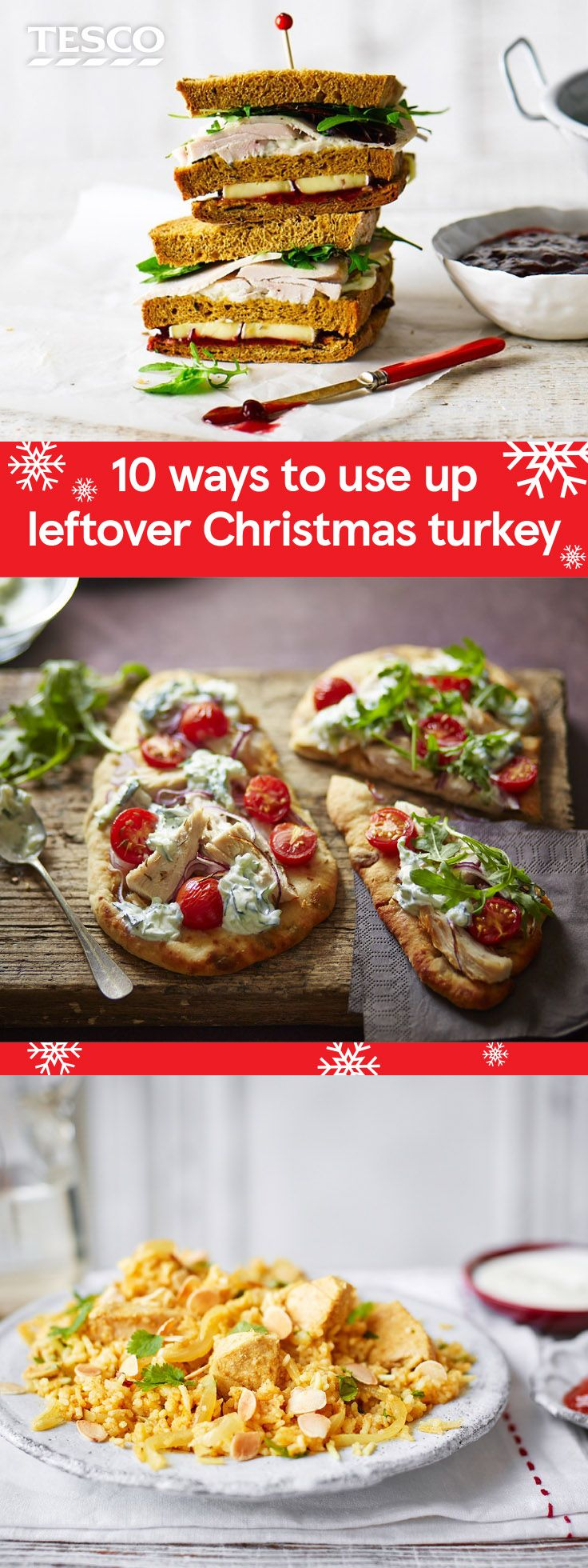 Turn leftover Christmas turkey into a delicious meal with these easy leftover recipes. Whether it's the ultimate Boxing Day turkey sandwich or a fragrant turkey curry, these recipes will help you make the most of your leftovers this year. | Tesco