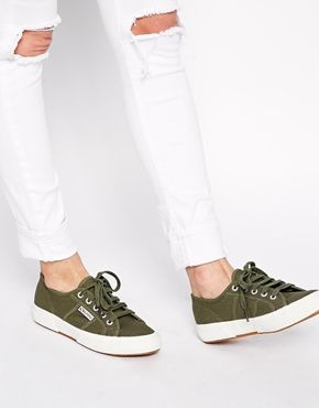 Superga 2750 Classic Green Plimsoll Trainers