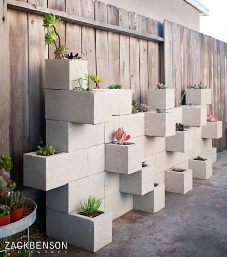Cinder Block as planters -Zach Benson Photography via Houzz: Contemporary Landscape, Garden Ideas, Block Planter, Outdoor, Gardening, Cinder Blocks, Gardens