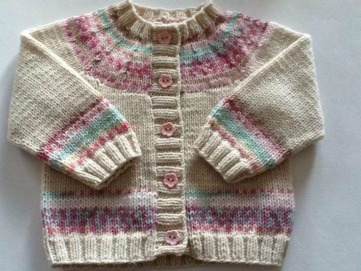 Baby+girl+cream+and+pink+cardigan+with+fairisle+di+emilyandevelyn,+£20,00