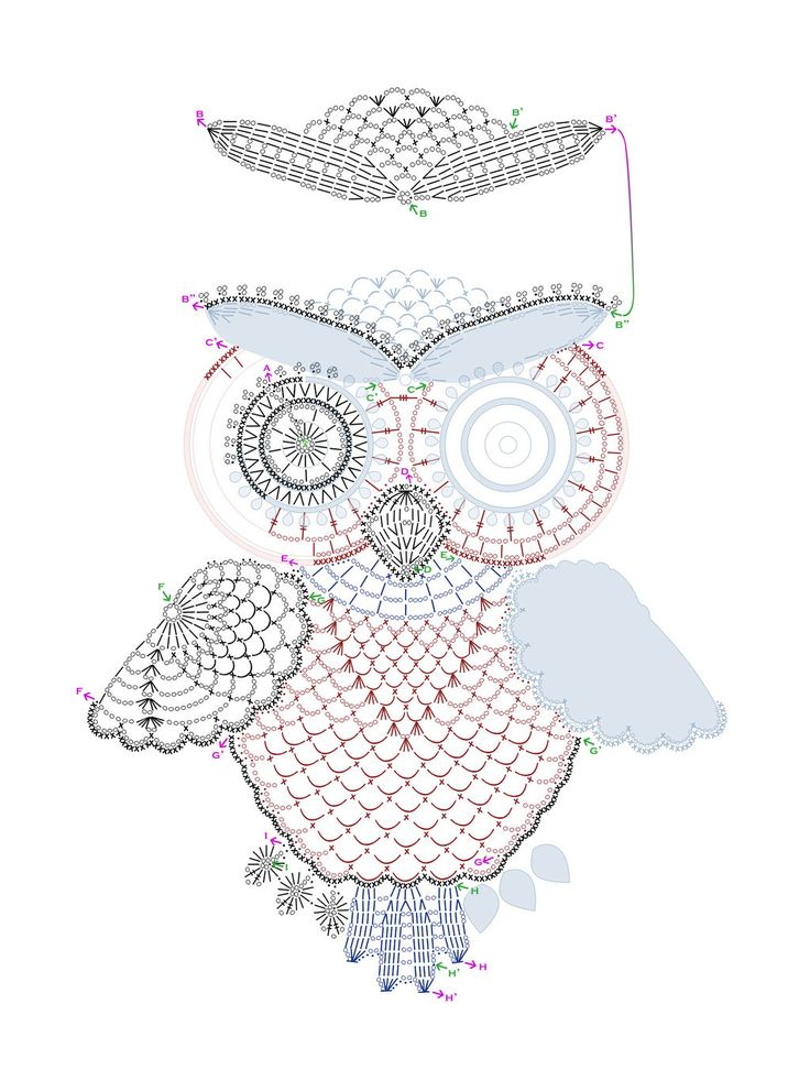 Crochet owl pattern by tasamajamarina.deviantart.com on @deviantART...diagram pattern only. An intricate and wise old owl.This would make an outstanding appliqué !