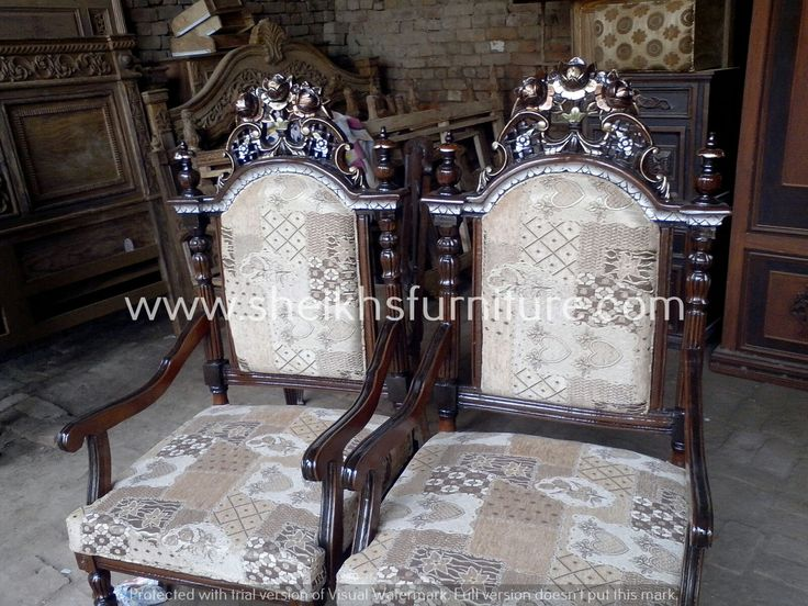 This is our solid rosewood classic bedroom chair set. This chair set is made in pure rosewood (sheesham) made in chiniot, Pakistan. This chair set is handmade full of classic style carving. This chair set is carved by our experience craftsman. This product is a valuable symbol of antique. This article can be customized on customer demand, for details you can contact us at info@sheikhsfurniture.com or  0092 315 7434547. www.facebook.com/sheikhsfurniture