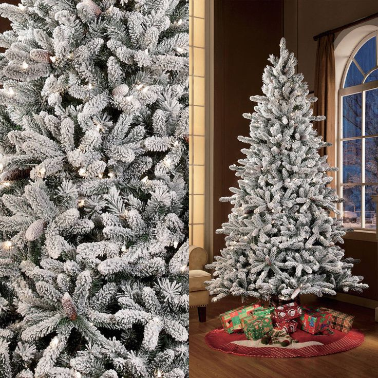 7.5ft PreLit Artificial Christmas Tree Green Flocked 400 Clear Lights and Stand #MassMarket