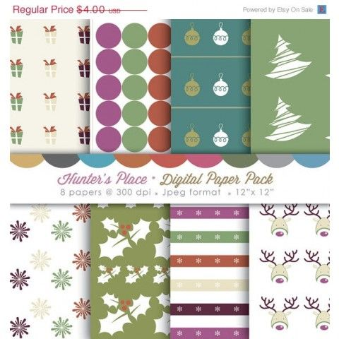 ON SALE Digital scrapbook paper pack - Vintage Christmas (Buy 2 get one FREE) on framestr.com