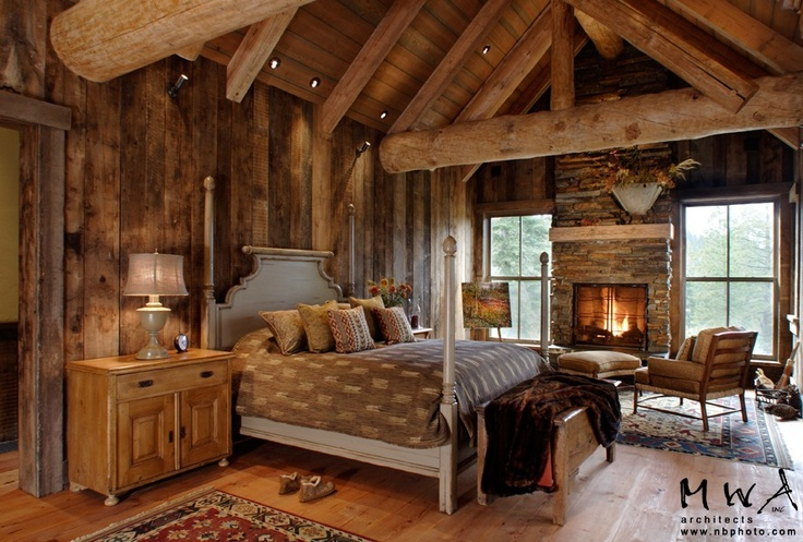 barn wood wall and ceiling; log truss, reclaimed wood floor